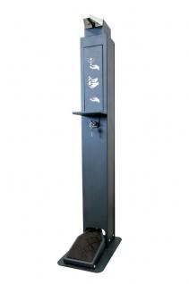 Desinfektionssäule für jegliche 1L-Mittel mit Fusspedal und Auffangschale erhältlich in der Farbe Grau