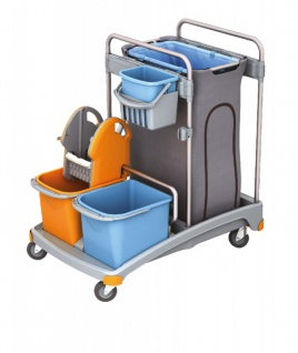Splast Reinigungstrolley mit Plastikbasis, Eimern, Abfallsackhalter und Mopppresse