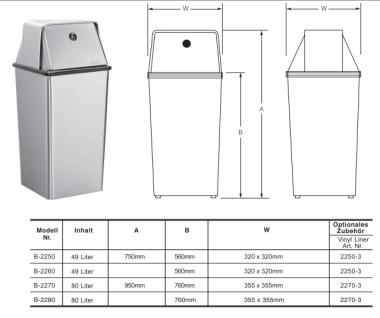 Bobrick B-2260 freistehender offener Abfallbehälter aus mattem Edelstahl 49, 2L - Vorschau 2