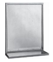 Bobrick B-292 Serie Stilvoller Rahmenspiegel mit Ablage aus Edelstahl matt geschliffen