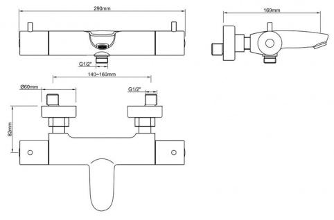 Thermostatbatterie Caral von Wiesbaden - Farben: Schwarz, Kupfer, Messing, Chrom - Vorschau 5