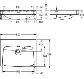 Franke Waschtisch WT600C aus der Linie Anima aus Edelstahl zur Wandmontage - Vorschau 3