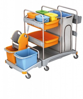 Splast Reinigungswagen aus Kunststoff mit 6 Eimern, Moppresse, Müllsackhalter 120 l