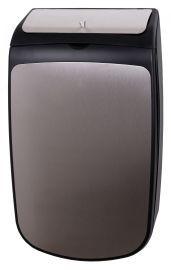 PlastiQline Exclusive Hygiene Abfallbehälter 25 Liter mit Klappdeckel aus schwarzem Edelstahl