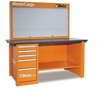 Beta Werkbank Mastercargo, orange mit Werkzeugwand und Schubladen