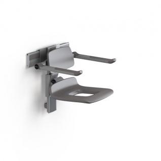 Pressalit höhenverstellbarer Duschsitz mit Pflegeöffnung, Rücken- und Armlehnen