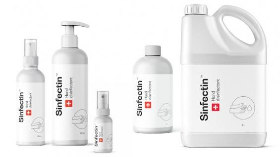 Sinfectin Desinfektionsmittel für Hände auf 80% Ethanol, enthält Glyserin gegen trockene Haut, in 50ml, 250ml, 500ml., 1L, 5L