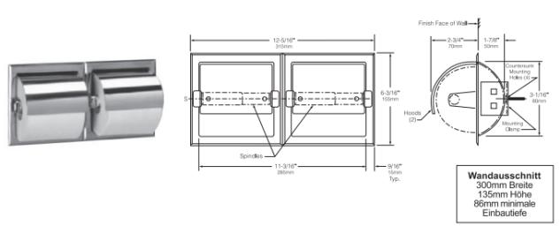 Bobrick B-699/7 Toilettenpapierhalter mit Haube für zwei Rollen aus Edelstahl - Vorschau 2