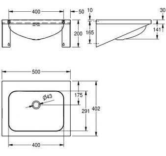 Franke Waschtisch WT500A aus Chromnickelstahl zur Wandmontage - Vorschau 3