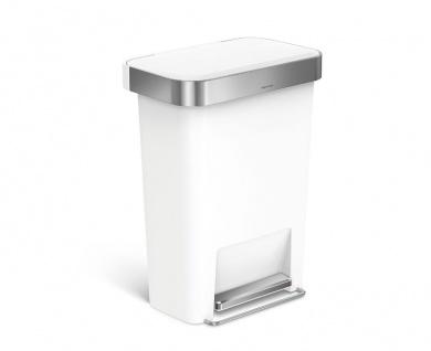Treteimer Rectangular Kunststoff mit Beutelspender 45 Liter, Simplehuman