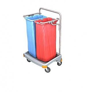 Splast Doppel-Abfallwagen aus Kunststoff 2 x 70l - Deckel ist optional