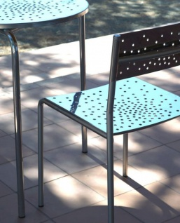 Graepel Tempesta erstklassiger Outdoor Stuhl aus Edelstahl 1.4016 silber lackiert und behandelt - Vorschau 3
