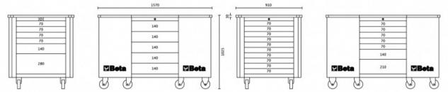 Beta Mobiler Arbeitsplatz mit 28 Schubladen - in 3 Farben erhältlich - Vorschau 5