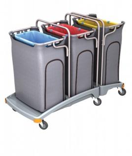 Splast Dreifacher Müllentsorgungswagen 3 x 120l mit Abdeckung - Deckel optional