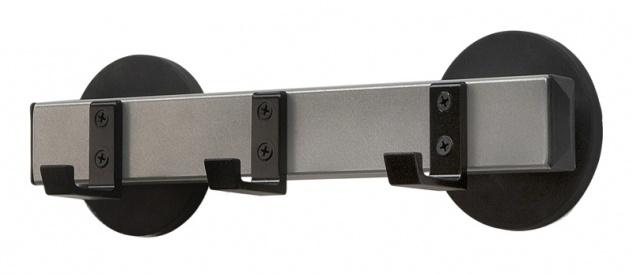 Wandgarderobe, magnetisch 3 Haken Schwarz, Aluminium Grau