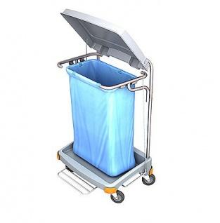 Splast grauer Müllwagen 120l aus Plastik mit Pedal - Abdeckung ist optional
