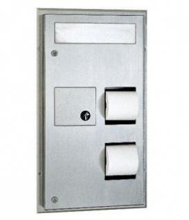 Bobrick 3in1 Sitz-Auflagen-, Toilettenpapierspender und Damenbindenabfallbehälter