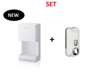Set: Mitsubishi Jet Towel Mini Weiss Doppelstrahltechnik + Seifenspender Gratis