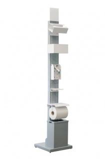 Hygiene- und Desinfektions-Station Grau inkl. Desinfektionspender und inkl. Halterung für Papierhandtuchrolle und Handschuhe, Abfallbox 13lt.
