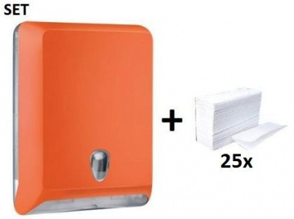 SET Marplast Papierhandtuchspender MP830 Orange Colored Edition + Papierhandtücher