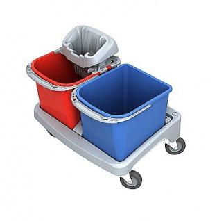 Splast Plastik-Reinigungswagen mit PIKO-Moppresse und 2 Plastikeimern zu je 20 l