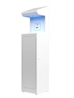 Touchless Sensor Desinfektionssäule für alle 5L- Desinfektionsmittel mit Auffangschale Weiss oder Schwarz