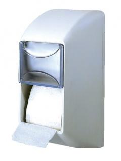 Weißer Doppel Toilettenpapierspender aus Kunststoff zur Wandmontage MP670