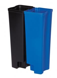 Recycling Inneneimer 2X25 Liter Front Step Kunststoff, Rubbermaid Schwarz, Blau