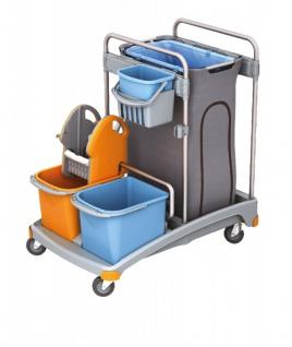 Splast Putzwagen-Set aus Kunststoff mit Mopp-Presse, Eimern und Abfallbeutelhalter