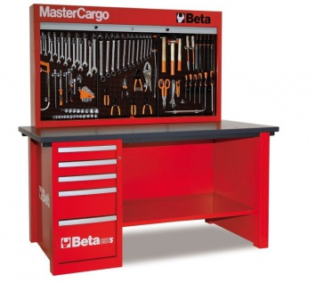 Beta Werkbank Mastercargo rot mit Werkzeugwand und Schubladen 5700/C57SA/R