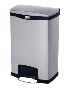 Slim Jim Step On Container Front Step Recycling Edelstahl 50 Liter, Rubbermaid Edelstahl gebürstet, Schwarz