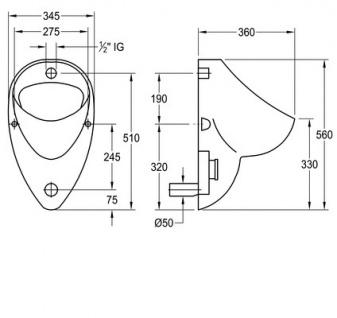 Franke Wandurinal CMPX0059 aus Keramik zur verdeckten Montage - Vorschau 2