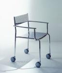 Graepel Tempesta hochwertiger Indoor Armstuhl mit Rädern aus Edelstahl 1.4016 verchromt