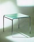 Graepel Tempesta edler Indoor Tisch verchromt mit Tischfläche aus Sekuritglas
