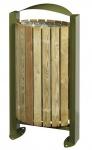 Rossignol Arkea Aussenbereich Abfallkorb aus Stahl 60L mit Holzverkleidung
