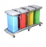 Splast mobiler Vierfach-Abfallsackhalter aus Kunststoff mit Deckel 4 x 120l