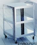 Graepel G-Line Pro Regal Quadra S - TV HI-FI aus Stahl silber lackiert mit Räder