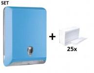 SET Marplast Papierhandtuchspender MP830 Blau Colored Edition + Papierhandtücher