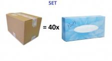 Set - Karton mit 40 Packungen Kosmetiktuecher Fluff - 40x 100 Blatt