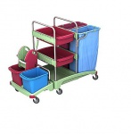 Splast Putzwagen mit 2 x 120l Müllsackhaltern, Moppresse und Ablagefächern
