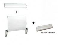 Dan Dryer Wickeltisch mit Gurt und Papierrollenhalter und 6 Papierrollen im Set