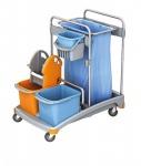 Splast Reinigungstrolley mit Eimern, Müllsackhalter 120 l, Moppresse und Fächern
