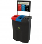 Meridian 110 Liter, Triple Einwurf/Einwurf/Hebedeckel Schw, Schwarz, Blau, Rot