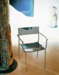 Tempesta hochwertiger Outdoor Armstuhl aus Edelstahl 1.4016 silber lackiert und behandelt