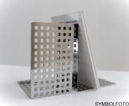 Graepel G-Line Pro Quadrotto Buchstützen aus Stahl schwarz lackiert, 2 Stück