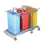 Splast Dreifach-Müllentsorgungswagen 3 x 120l aus Plastik - Deckel ist optional
