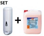 SET Marplast weißer Seifenspender 0, 25L und hautfreundliche Cremeseife Rosè 5L
