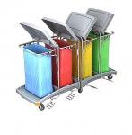 Splast großer Abfallwagen 4x 120l mit Pedal und Deckel - Verkleidung optional