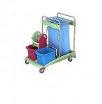 Splast Reinigungswagen aus Plastik mit Abfallsackhalter 120l, 2 Eimern + Moppresse