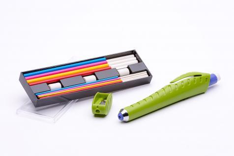 Set mit Kreidestift aus Kunststoff, Anspitzer, Radiergummis und Kreideminen